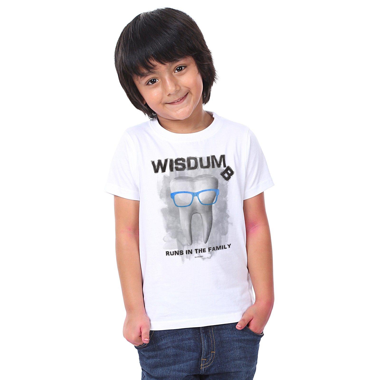 Boy's Wisdum Print White T-shirt - BonOrganik