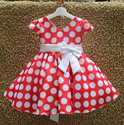 Red Polka Dotted Party Dress - MeiQ