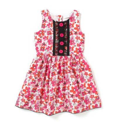 Pink Floral Printed Cotton Dress With Front Net Detail - Sequences Clothing