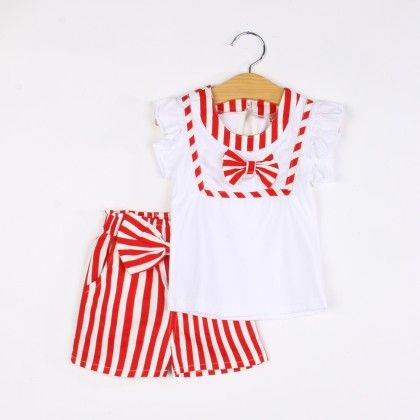 Cute Striped Bow Top And Short Set- Red - Xia