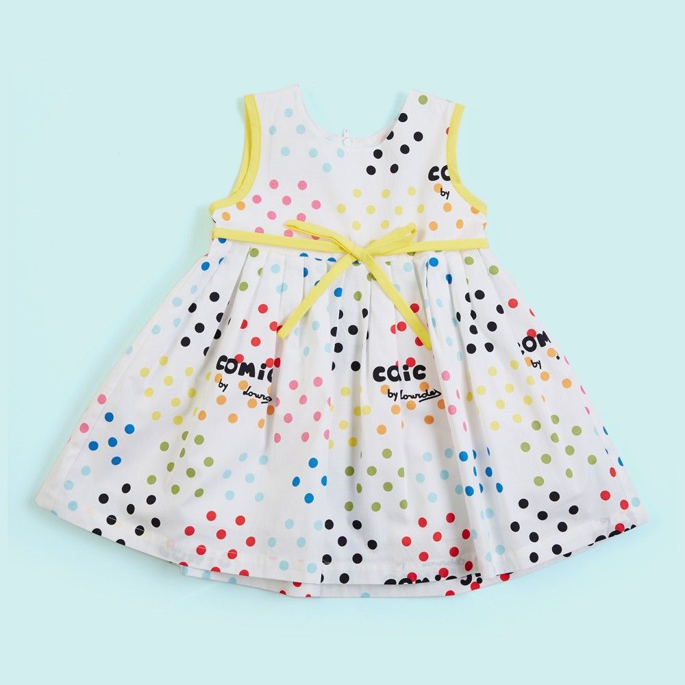 Polka Dots Dress With Yellow Lining - Lourdes