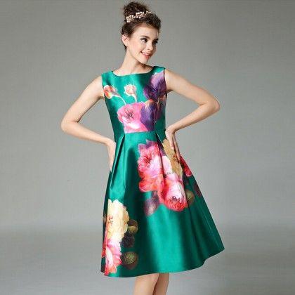 Vestidos Vintage Woman Pleated Dress - Green - STUPA FASHION