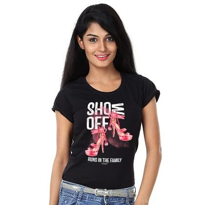 Women Show Off Print Black T-shirt - BonOrganik