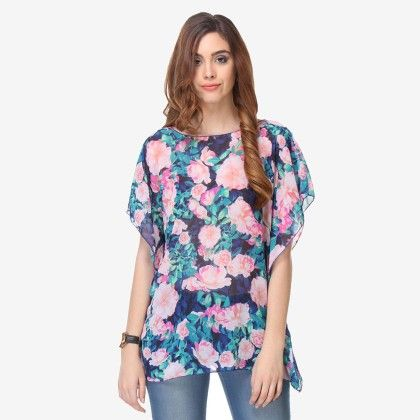Multi Colored Chiffon Printed Top - Varanga - 325737