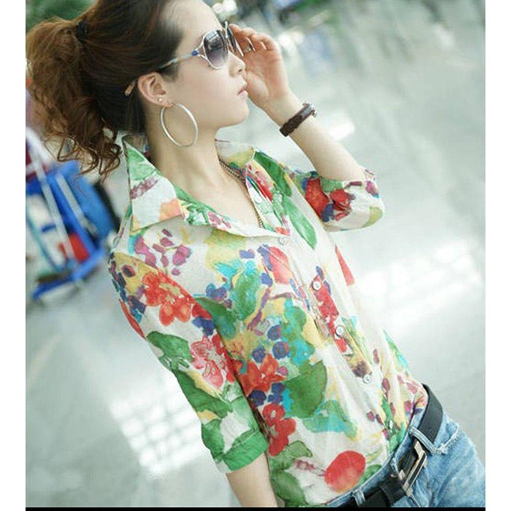 Stylish Retro Flower Pattern Slim Shirt - STUPA FASHION - 336137