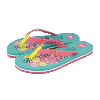 Aqua And Fuchsia Falca Beach Flip Flops - Gioseppo