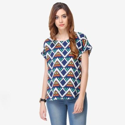 Multi Colored Crepe Printed Top - Varanga - 325717
