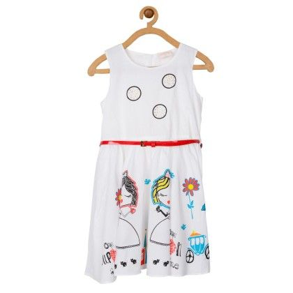 Cotton Printed Dress With Red Belt - Toy Balloon Kids