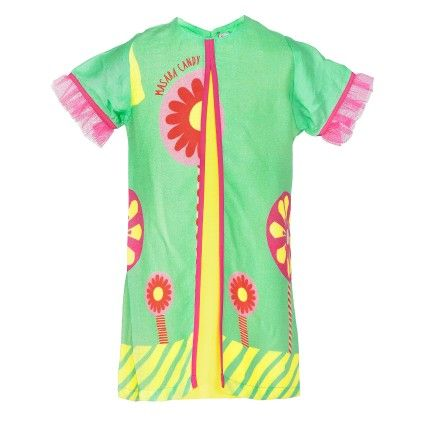 Sea Green A Line Dress With Frill Sleeves - Masaba For Magic Fairy