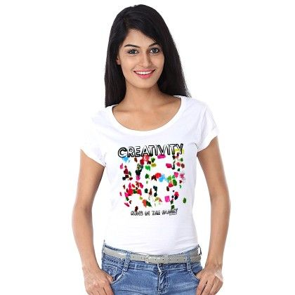 Women Creativity Print White T-shirt - BonOrganik