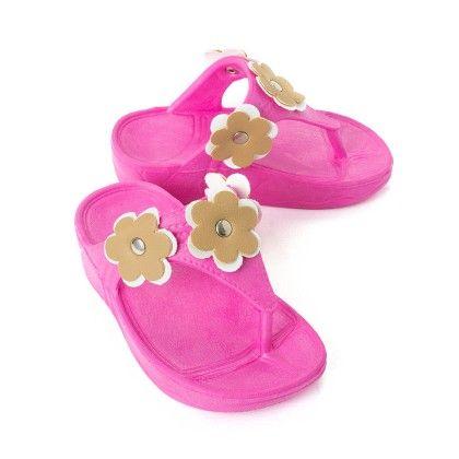Pink Flower Slip Ons - Red Apple