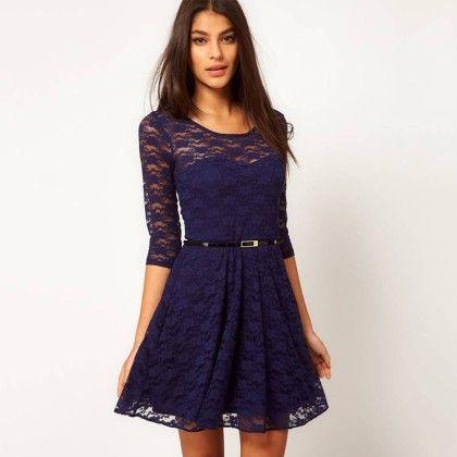 Lace Mini Dress - Navy - STUPA FASHION