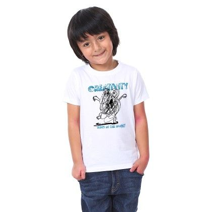 Boy's Creativity Print White T-shirt - BonOrganik