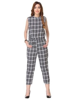 Printed Cotton Black & White Jump-suit - Varanga