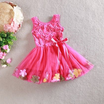 Party Dress With Lace And Flower - Rose Red - Love Baby