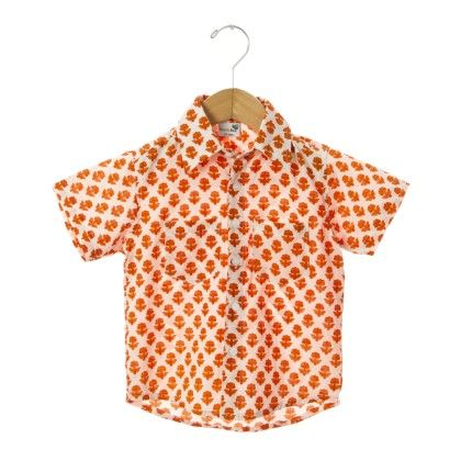 Orange Floral Printed Half Sleeves Boys Shirt - NeedyBee Apparel