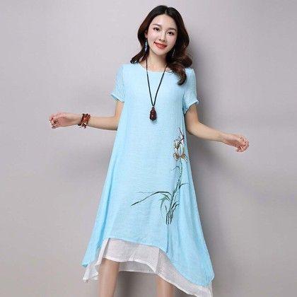 Blue Floral Print Short Sleeve Dress - Dell's World