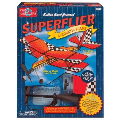 Rubber Band Powered Super Flier Deluxe Acrobatic Plane Kit - TS Shure