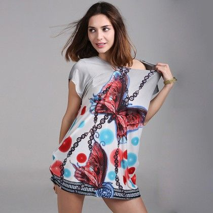 O-neck Short Sleeve Women Dress Or Top - Multi - Style O Style