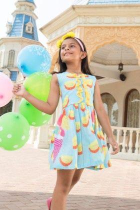 Marshmellow Blue Crisp Short Dress With Dainty Frills - Masaba For Magic Fairy