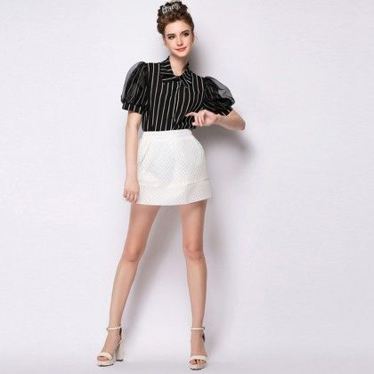 Lovey Stripe Shirt With Organza Sleeve - Black - Mauve Collection