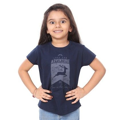 Girl's Love For Adventure Print Navy T-shirt - BonOrganik