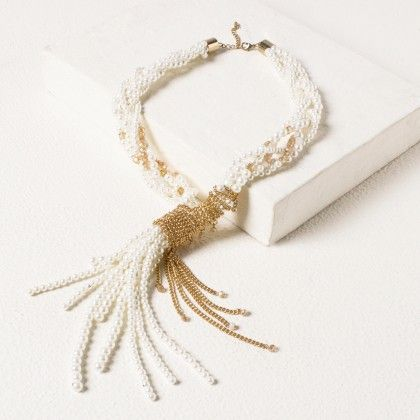 White Tie Up Beaded Necklace - Pipa Bella