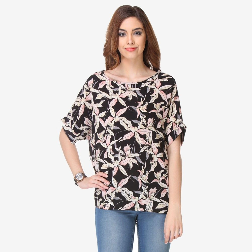 Multi Colored Crepe Printed Top - Varanga - 325719