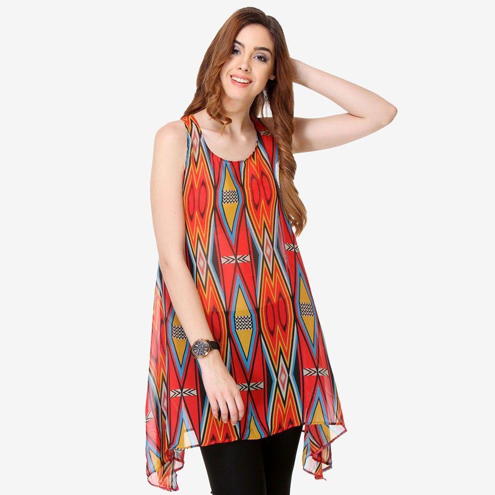 Multi Colored Chiffon Printed Tunic - Varanga - 325744