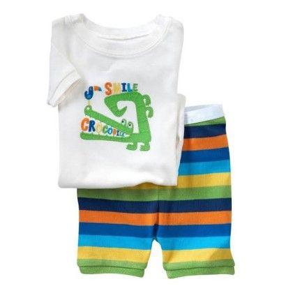 White & Green Printed Tee & Pajama Set - Adores