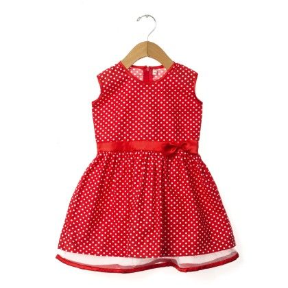 Red Polka Dotted Sleeveless Dress - Taramira