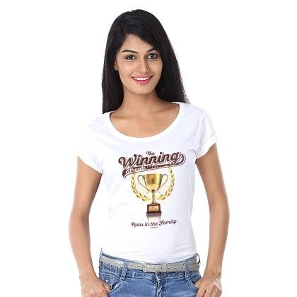 Women The Winning Print White T-shirt - BonOrganik