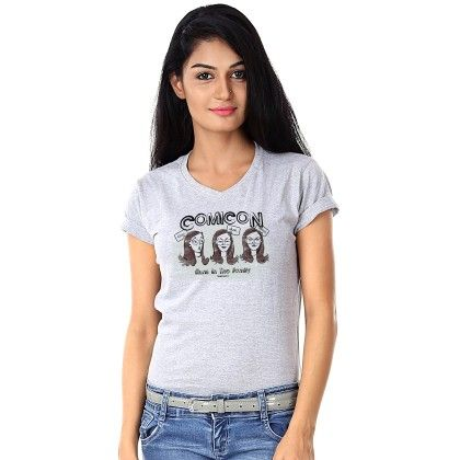 Women Comicon Print Grey T-shirt - BonOrganik