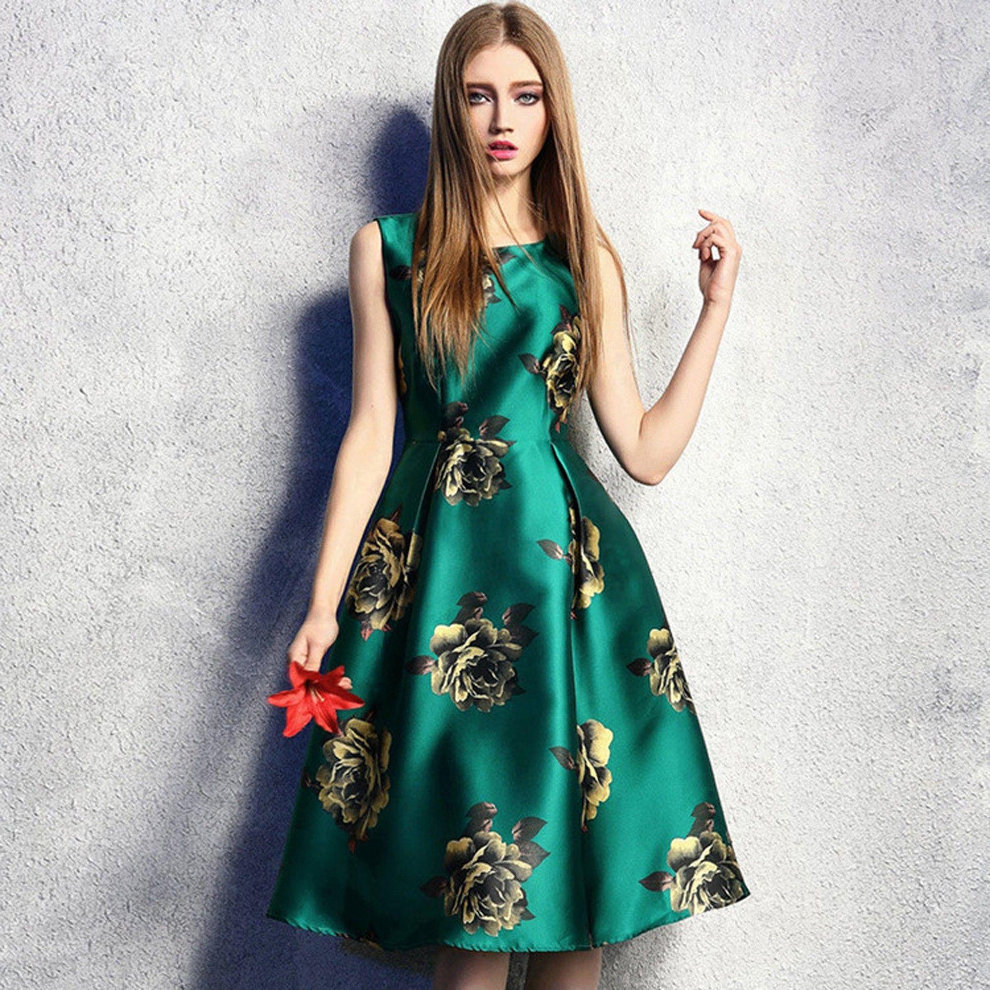 Vintage Casual Print Pleated Slim Dress Women - Green - STUPA FASHION
