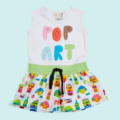 White Pop Art Waist Tie Up Dress - Lourdes