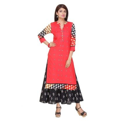 Red Color Printed Stitched Kurti - Varanga