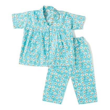 Floral Printed Night Suit - Blue - BownBee