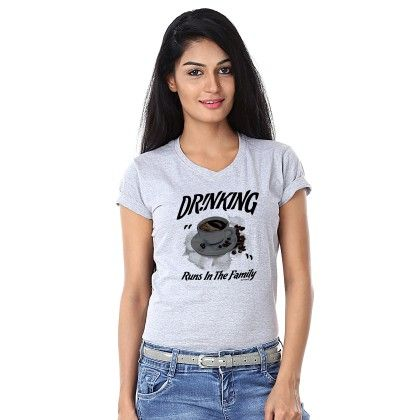 Women Drinking Print Grey T-shirt - BonOrganik