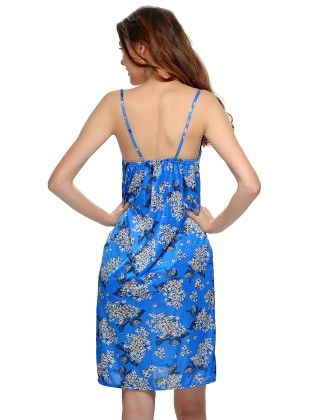 Floral Printed 2 Pcs Nighty And Robe In Royal Blue - Clovia