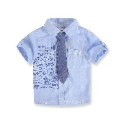 Boy's Cartoon Print Shirt With Tie- Blue - Laz DG