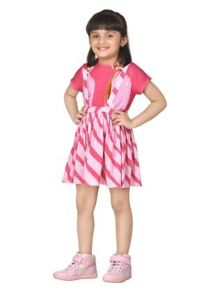 Jellybean Stripes Pink Suspender Skirt With Top - Masaba For Magic Fairy