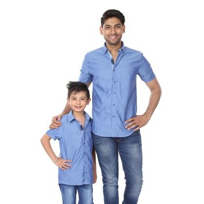 Half Sleeve Shirt With Contrast Button Placket For Boys - BonOrganik