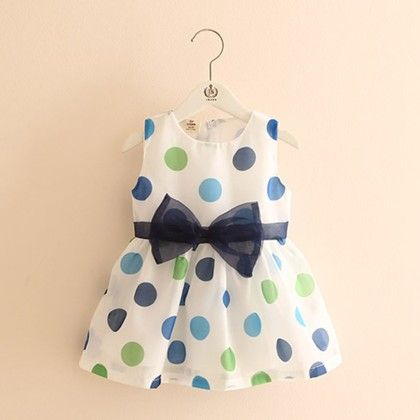 Polka Printed Dress With Blue Bow - Mauve Collection