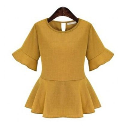 Peplum Style Back Tie Top - Yellow - Mauve Collection
