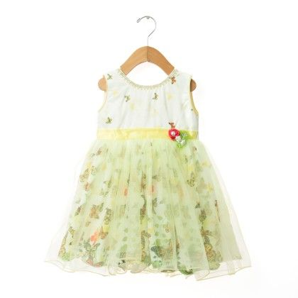 Green And White Butterfly Dress - EIORA