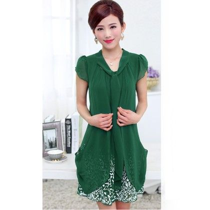Casual Dress Ladies Female Print Floral Dresse - Green - STUPA FASHION
