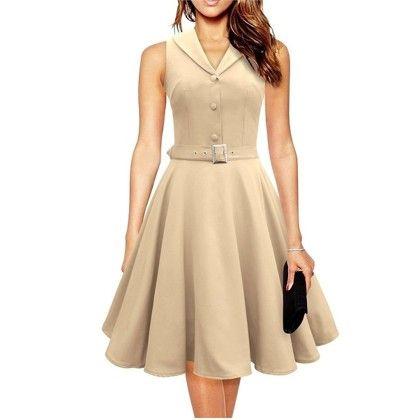 Elegant Dress Sleeveless Party Dress - Cream - STUPA FASHION