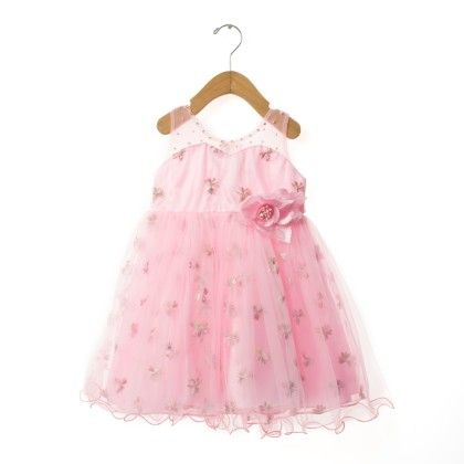Pink Floral Dress With Cute Bow - EIORA