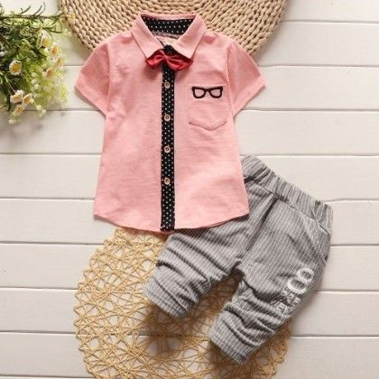 Specky Shirt With Bow And Striped Pant Set-pink - Bohuana