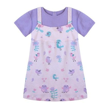 Purple Bird Printed Dress With Tee - Chic Bambino